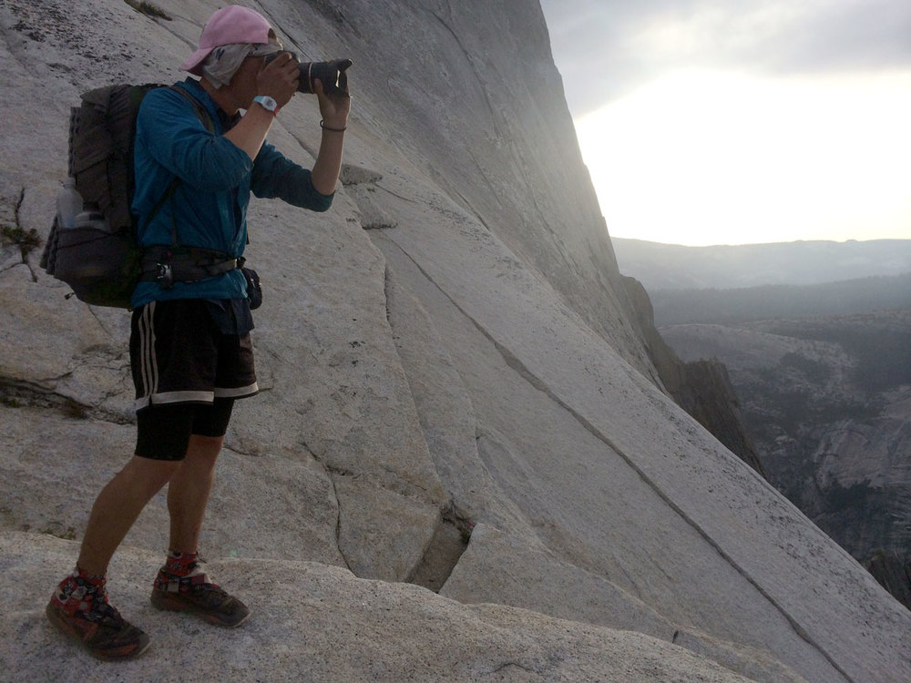 We all took a ton of pictures on Halfdome. Here is Jonathan taking a break to shooting on the way down.