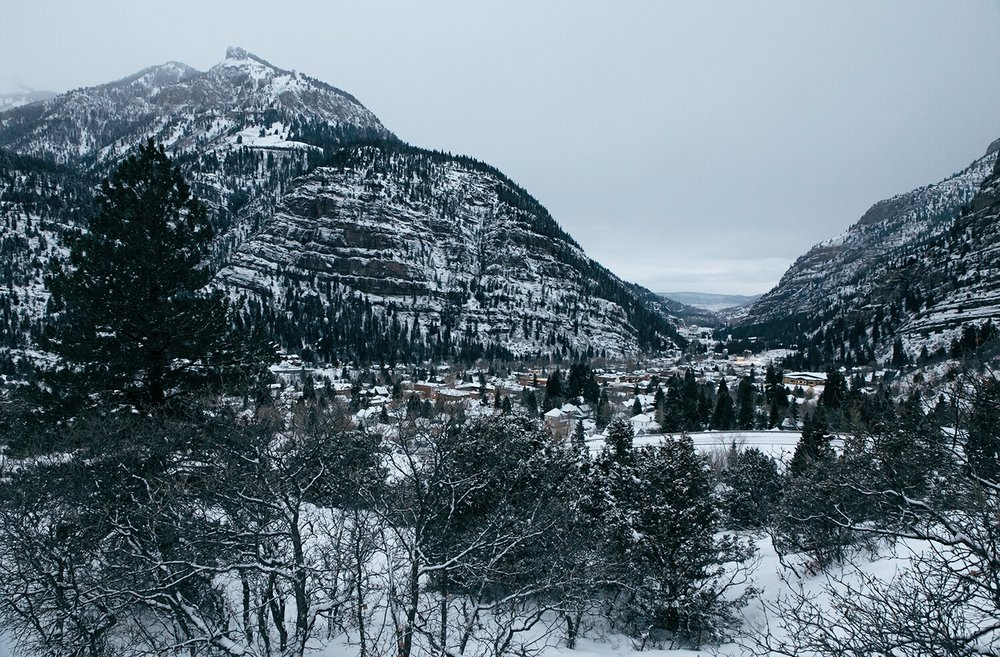 A 7:00am view of Ouray from outside of town to the South.