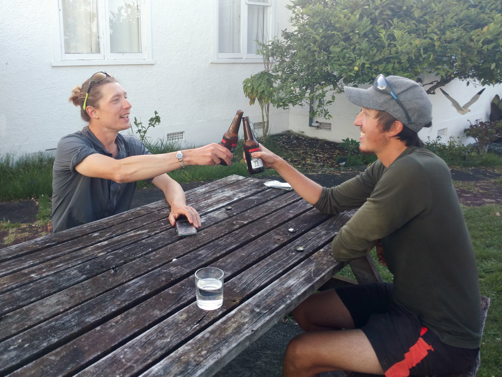 Charlie and Jonathan celebrating our arrival in the city of Whanganui  photo/ Jonathan