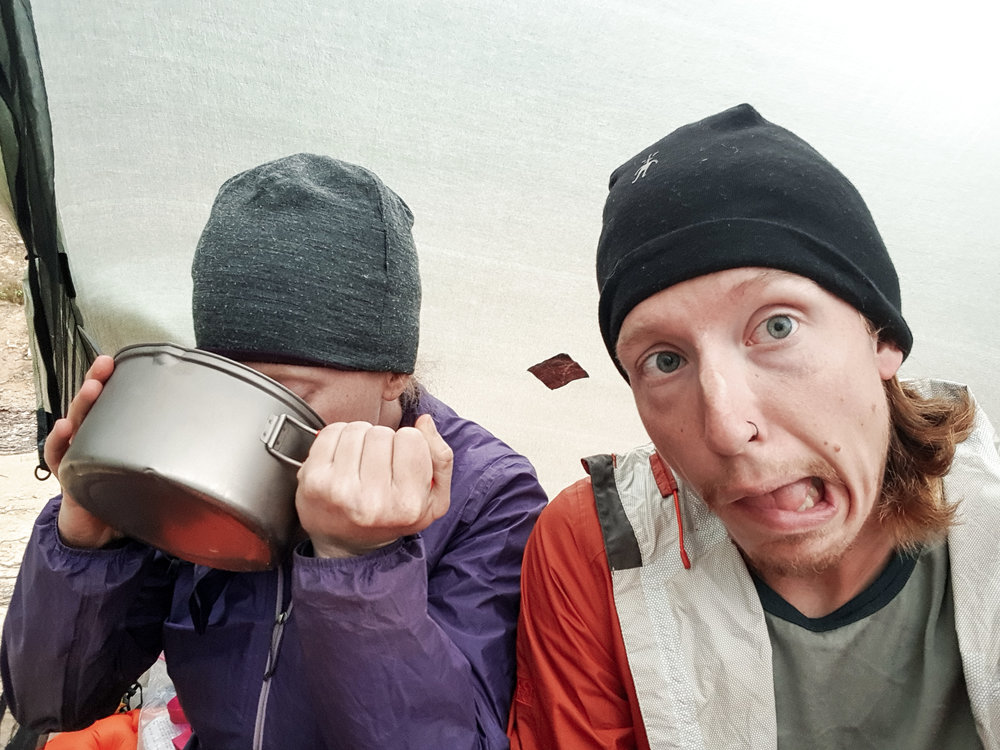 Post-dinner chai latte as it lightly rains outside on our first night back on trail  photo/ Jonathan