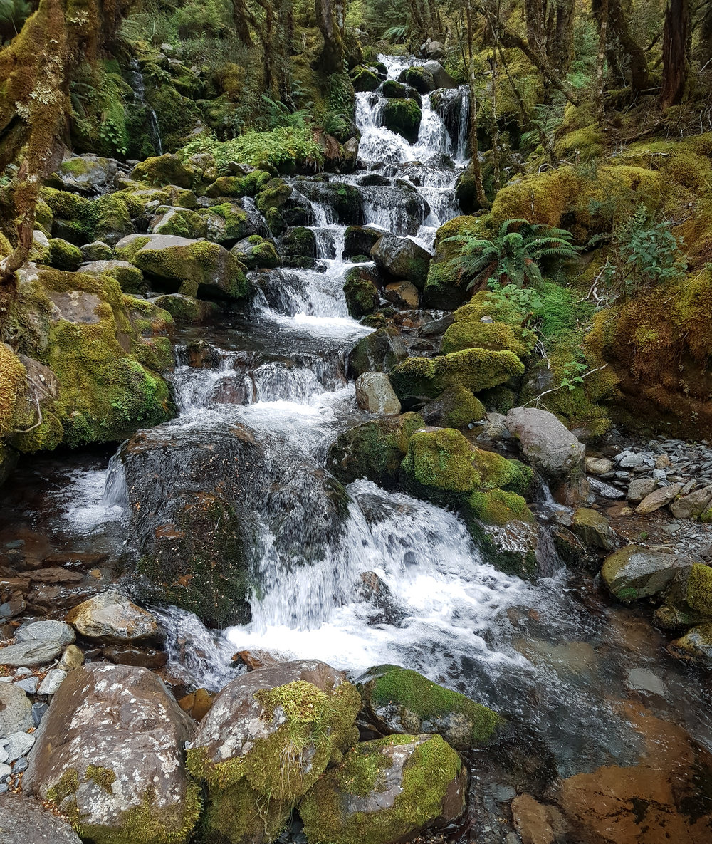 Cascades spilling down toward the trail  photo/ Jonathan