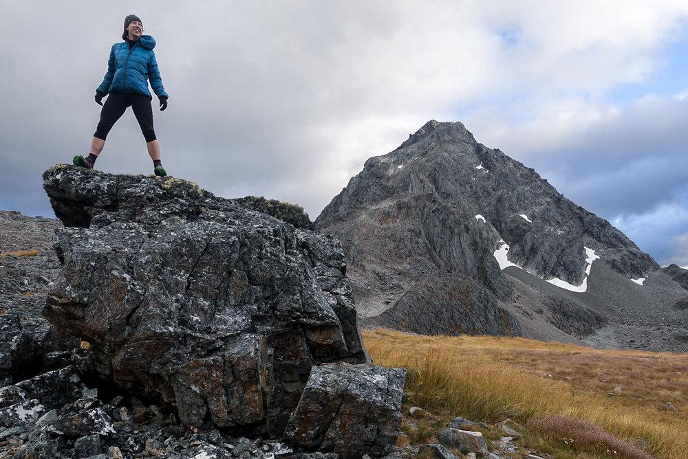 Molly climbing around near Travers Peak  photo/ Jonathan
