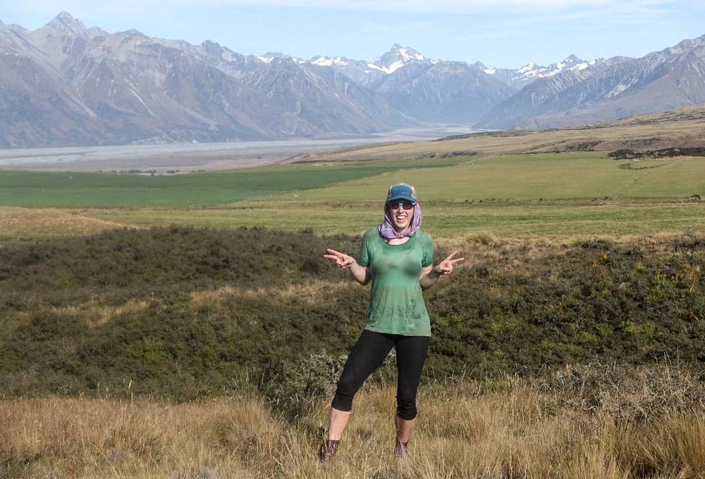 Mount Sunday (Edoras) is just out of sight in the upper right. It sits down in the middle of that river valley with the snowy peaks towering above it.  photo/ Jonathan
