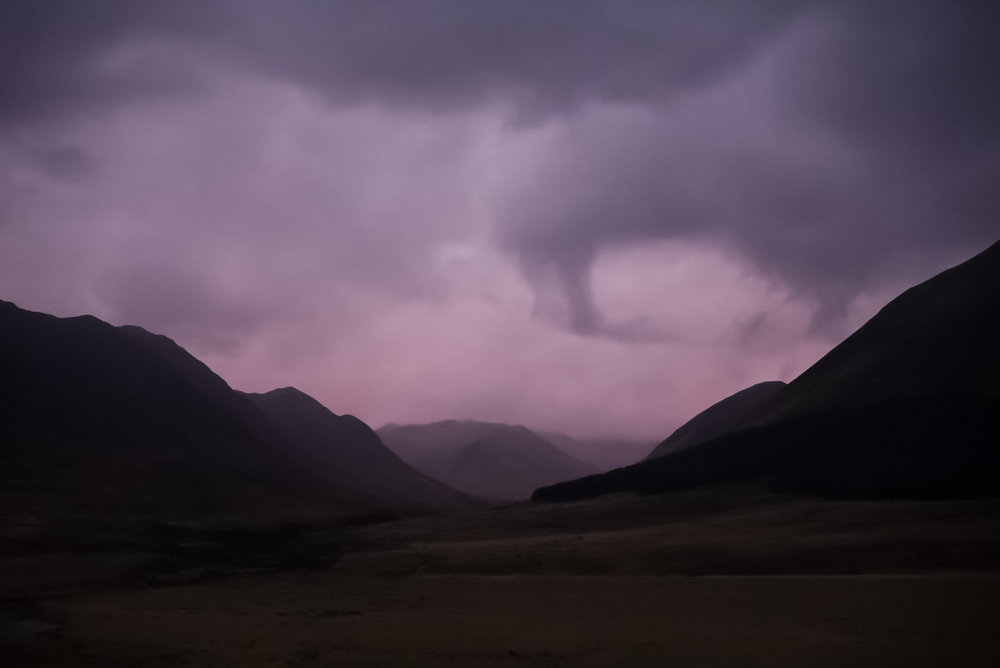 A storm is coming, but why is the sky pink?! (Early morning, facing northwest).  photo/ Jonathan
