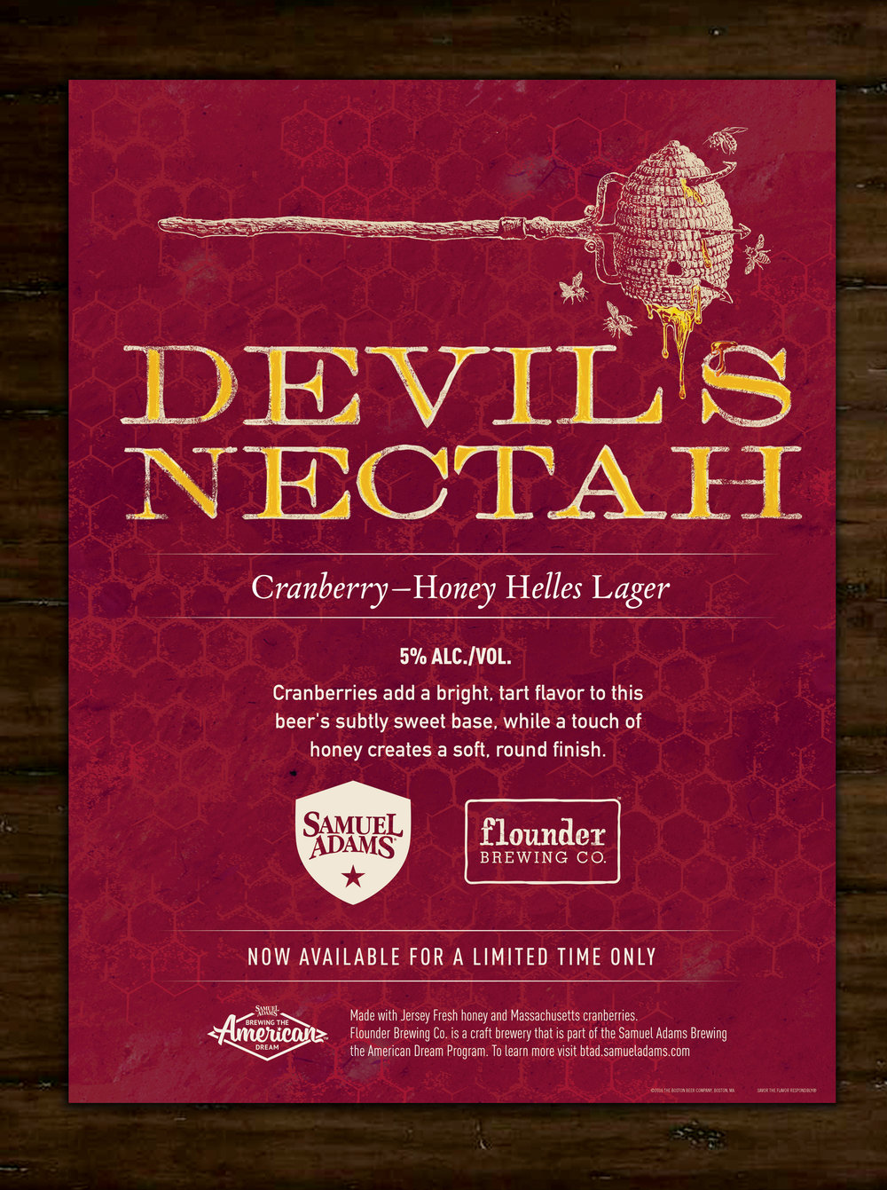 "Concept and Design for Limited Release Collaboration beer from Samuel Adams and Flounder Brewing ""Devil's Nectah"", Illustration by Dahl Taylor"
