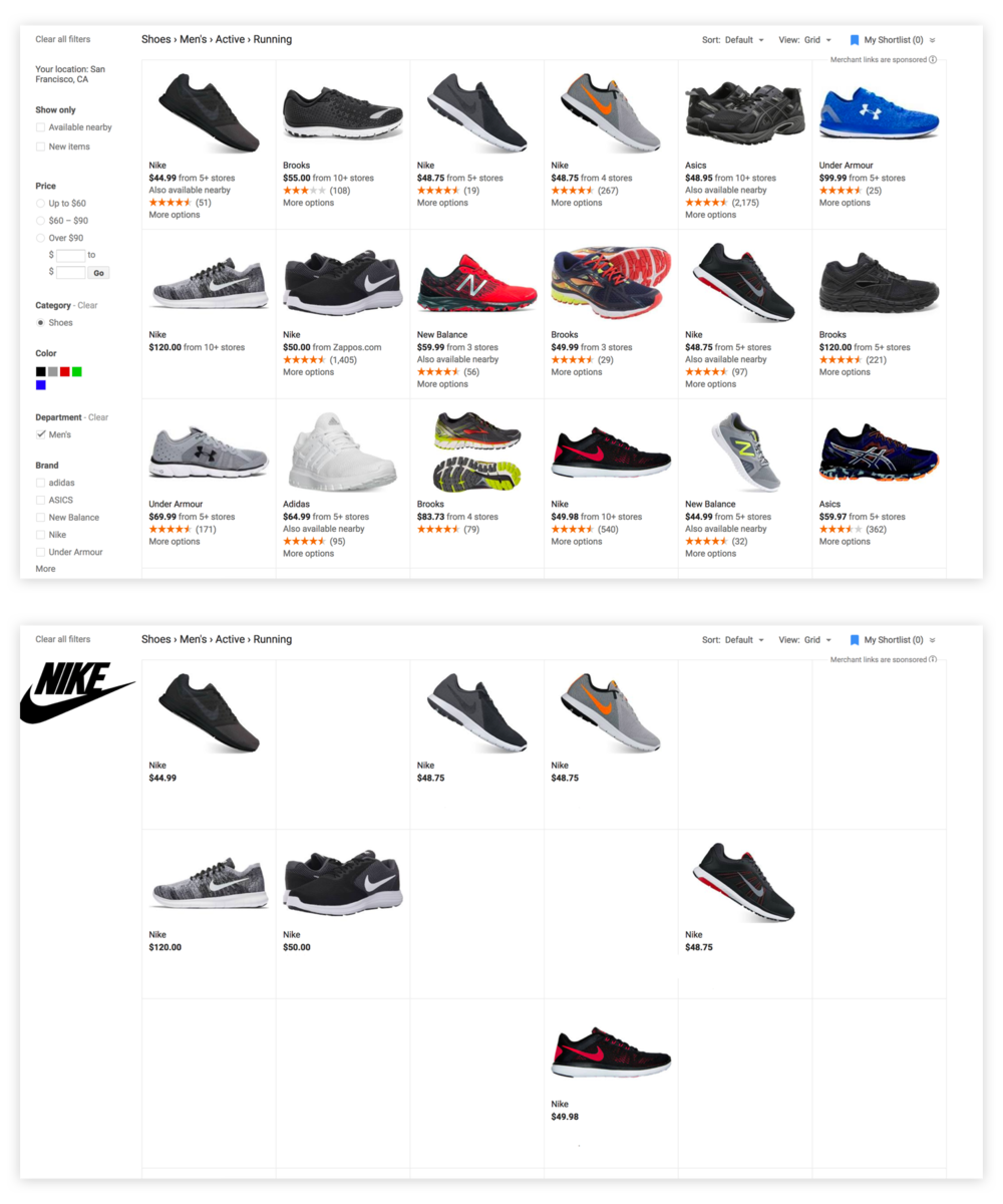If a user is looking for running shoe, limiting to one advertiser (i.e. Nike) reduces the amount of relevant products we could show