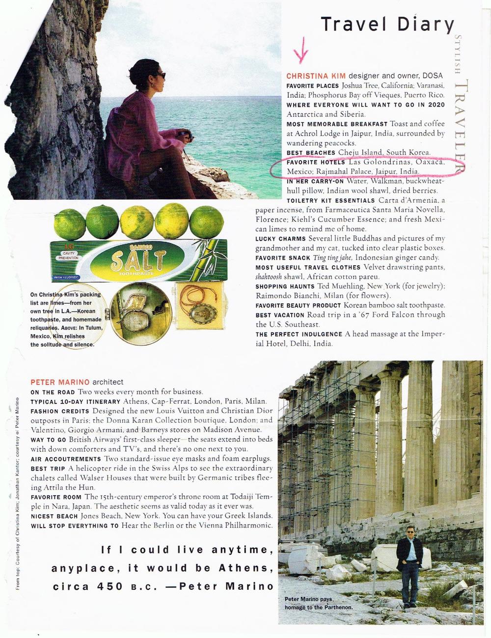 Travel & Leisure, Travel diary, Christina Kim.
