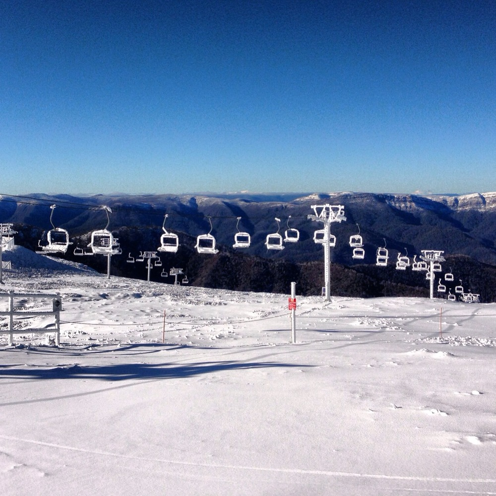 Spotted these frozen chairs trudging between slopes with my snowboard on Mount Buller