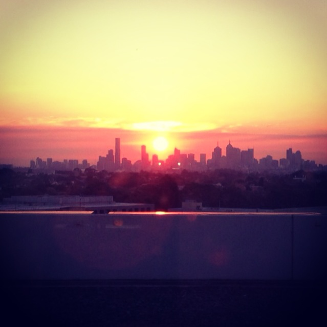 Sunset over the city in Melbourne from Genesis Camberwell while grooving is awesome.