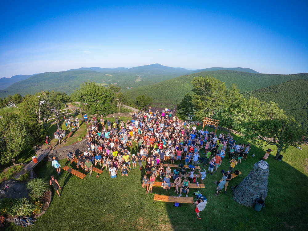 A group photo of the mountaintop beer-and-cocktail happy hour atop Hunter Mountain.  (Josh Currie/The Outbound Collective)