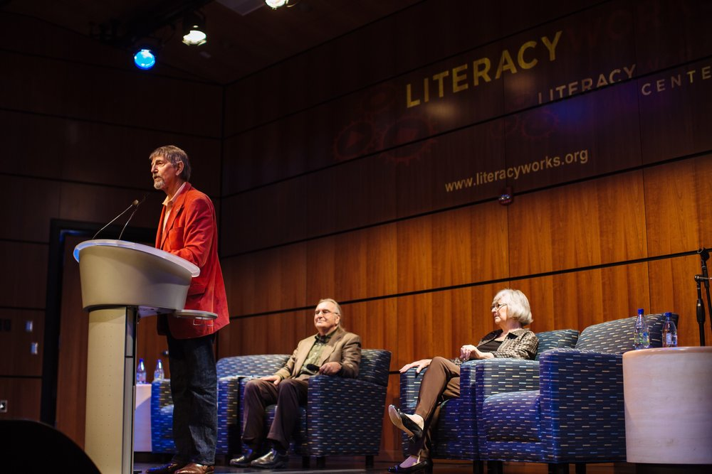 Peter Coyote speaking on the importance of literacy.