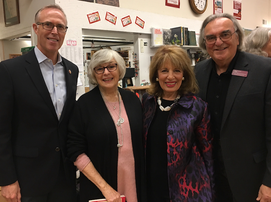 Literacyworks Lectures 2019 Kickoff: Congresswoman Jackie Speier Monday, Jan 7, 2019 at Copperfield's Books Petaluma Store. Photo (left to right): Congressman Jared Huffman, Congresswoman Lynn Woolsey, Congresswoman Jackie Speier, and Literacyworks Executive Director Paul Heavenridge at Jackie Speier Lecture.