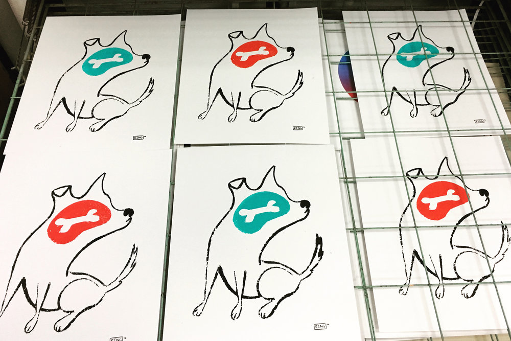 red and blue dogs