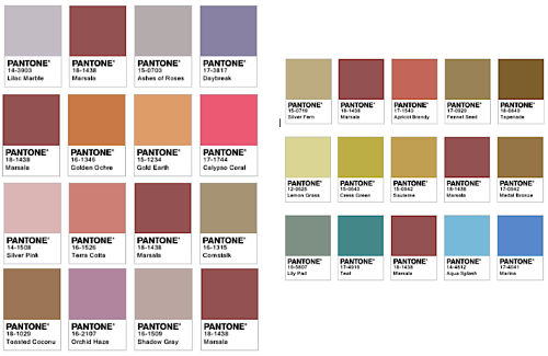 Color pairings with Marsala via  Pantone .