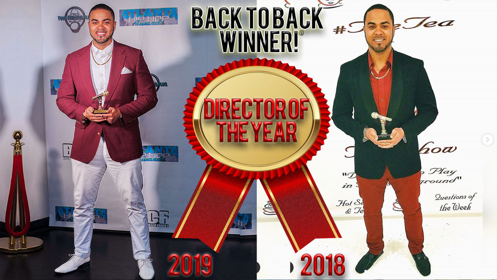 """We are incredibly grateful to have been awarded """"Director of the Year"""" back to back for 2019 & 2018! 🏆 Thank you Atlanta Hip Hop Awards for recognizing our hard work & determination. We are dedicated to creating the highest quality content for our clients and are now even more inspired to go bigger! Onwards & Upwards! #AlphaMaleVisuals  See the work that got us these awards  here"""