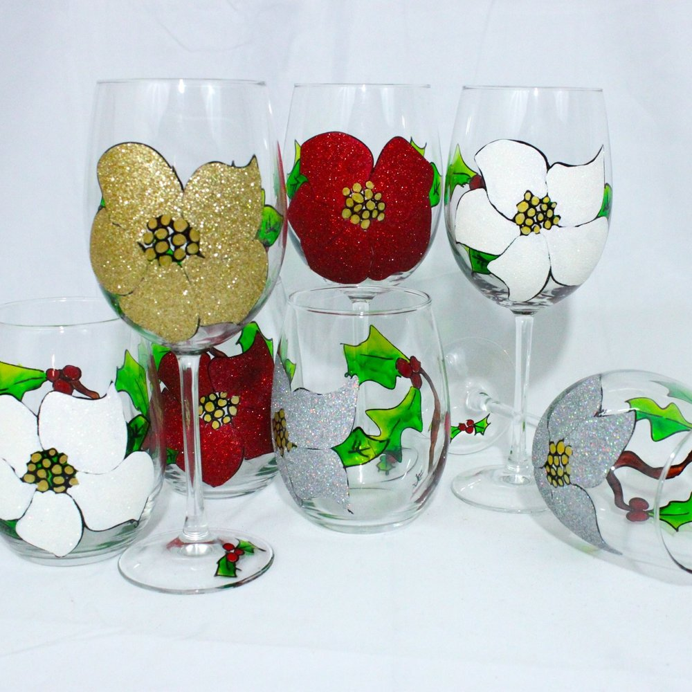 Poinsettia & Holly Berries - Four colors, four styles, the perfect holiday set.