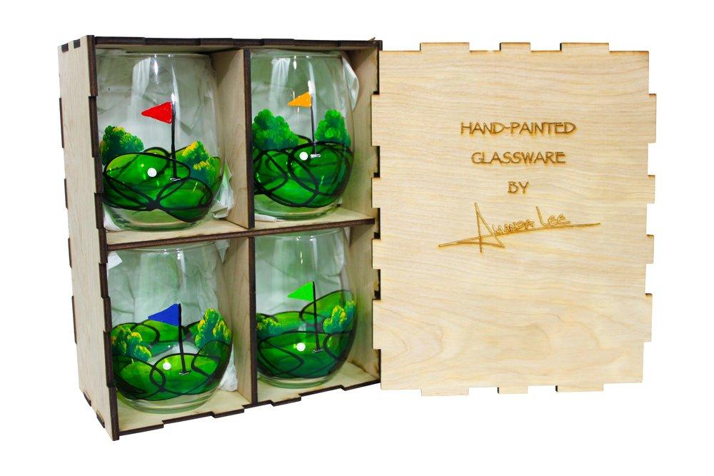 golf glassware golf wine glasses golf stemless glass hand painted glassware.JPEG