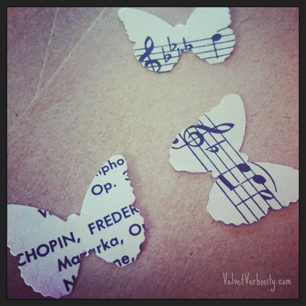 Vintage Music Paper Butterflies
