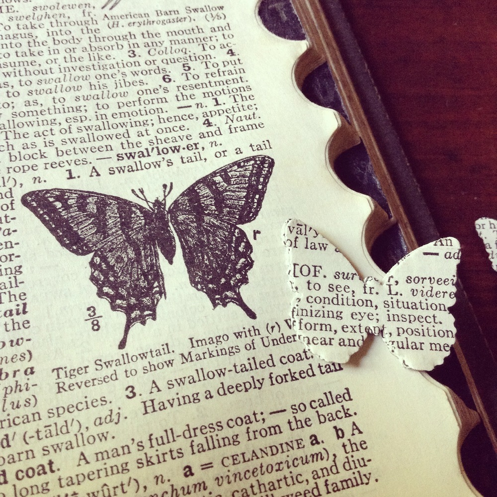 Altered Book Page Butterflies
