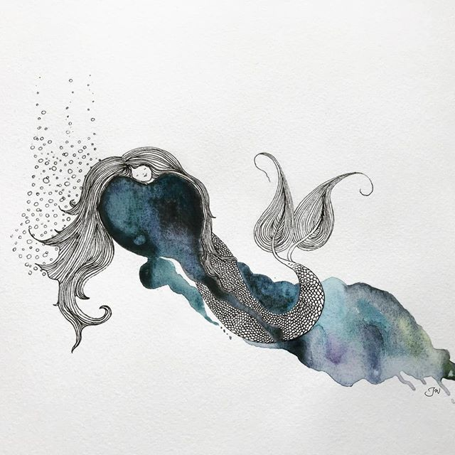 And now for something completely different... decided to use #mermay2018 to get myself drawing again. Since I don't have a dedicated Instagram for my fledgling artwork yet, I'm posting here. ☺️🙏🏻#mermaid #illustration #watercolor #inkandwatercolor