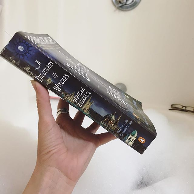 First hint of cool weather and it's bubbles and bath and books time! #literarylifestyle #bookstagram #booksofinsta #booknerd #witches #fall #adiscoveryofwitches #deborahharkness #bubblebath