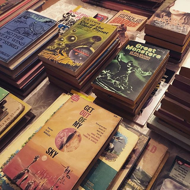 My shop has been on pause for a while but I'll be re-opening this week. Going to kick off with some sci-fi paperbacks and some Halloween/Autumn themed stuff. Stay tuned! #vintagebooks #vintagebooksforsale #scifipaperbacks #vintagescifi