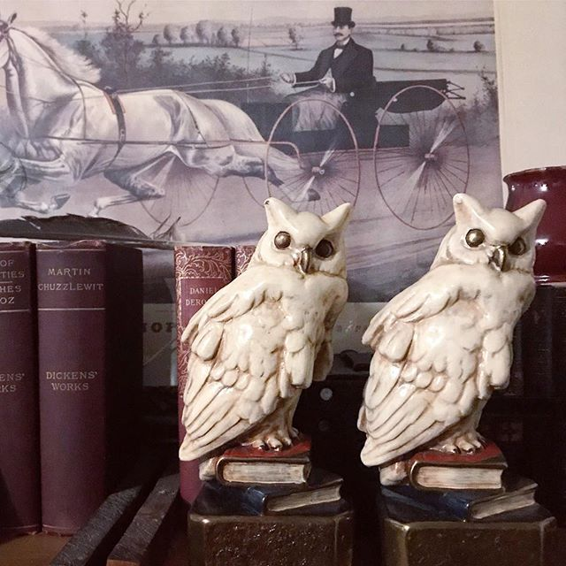 This pair of #marionbronze snowy owl bookends have been in my shop forever. They sold this weekend, and I'm super happy to send them to a new home, but also...they've been hanging around my space for so long I had grown rather attached. Going to miss them! #marionbronzebookends #bookends #owls #snowowl #harrypotter