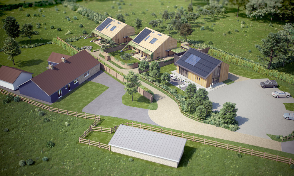 Birds eye view of proposed development from the south west