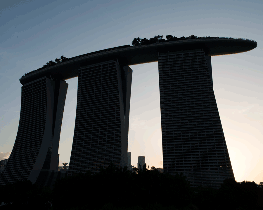 'MBS' © Naida Ginnane 2018 Nikon D800, 24-70mm lens, f/20, 1/100, ISO 200  An iconic landmark in Singapore, Marina Bay Sands is reduced to strong, simple shapes contrasted by a soft background.