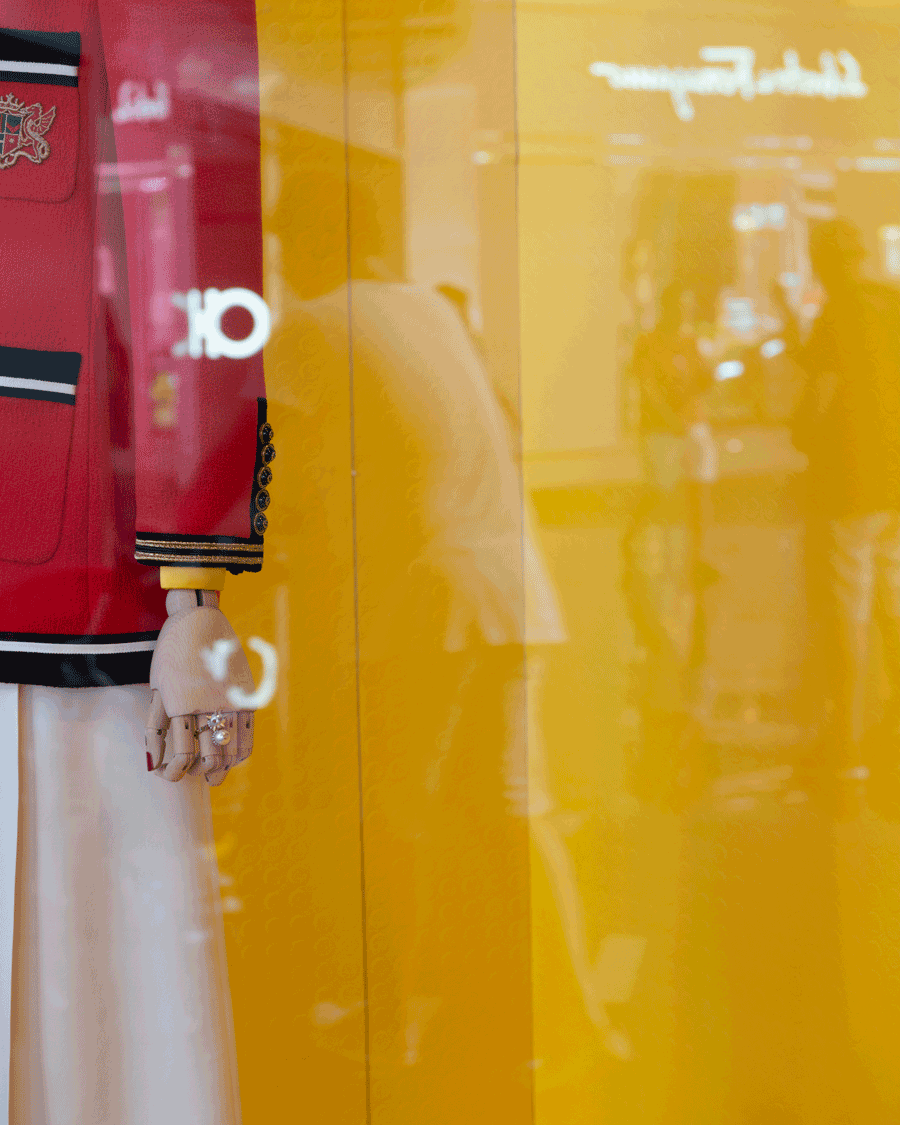 'Window Yellow' © Naida Ginnane 2018 Nikon D800, 24-70mm lens. f/4.5, 1/50, ISO 100. This Gucci shop window uses this high chroma yellow as a backdrop to emphasise their contrasting coloured clothes.