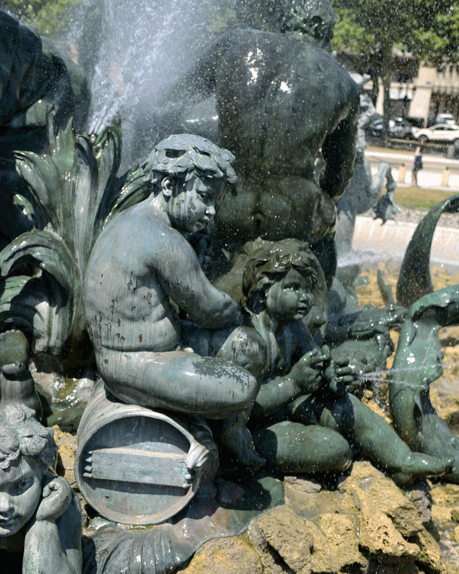 'Water Cherubs' © 2016 Naida Ginnane Nikon D800 24-70mm lens f/ 3.5, 1/500, ISO 64. This bronze sculpture in Paris commemorates the rule of Louis XIV and also doubles as a fountain and place to cool down on a hot day.