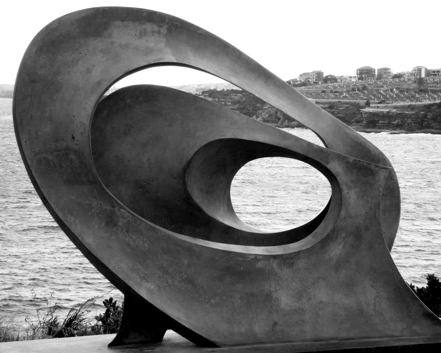 'Artist Unknown' © Naida Ginnane 2008.  A sculpture included in the Sculpture by the Sea festival in Sydney, it's shape and position allow the water and headland behind it to be seen in a completely  new way.