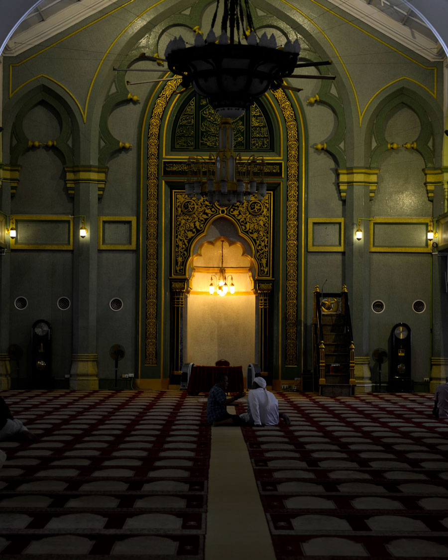 'Mosque Interior'  © 2015 Naida Ginnane, Nikon D800     f/ 2.8, 1/50, ISO 160 +33. Although no figurative representations are allowed inside mosques, they are still adorned with beautiful patterns, rich with symbolism. Notice the pointed arches are similar to the Christian church.