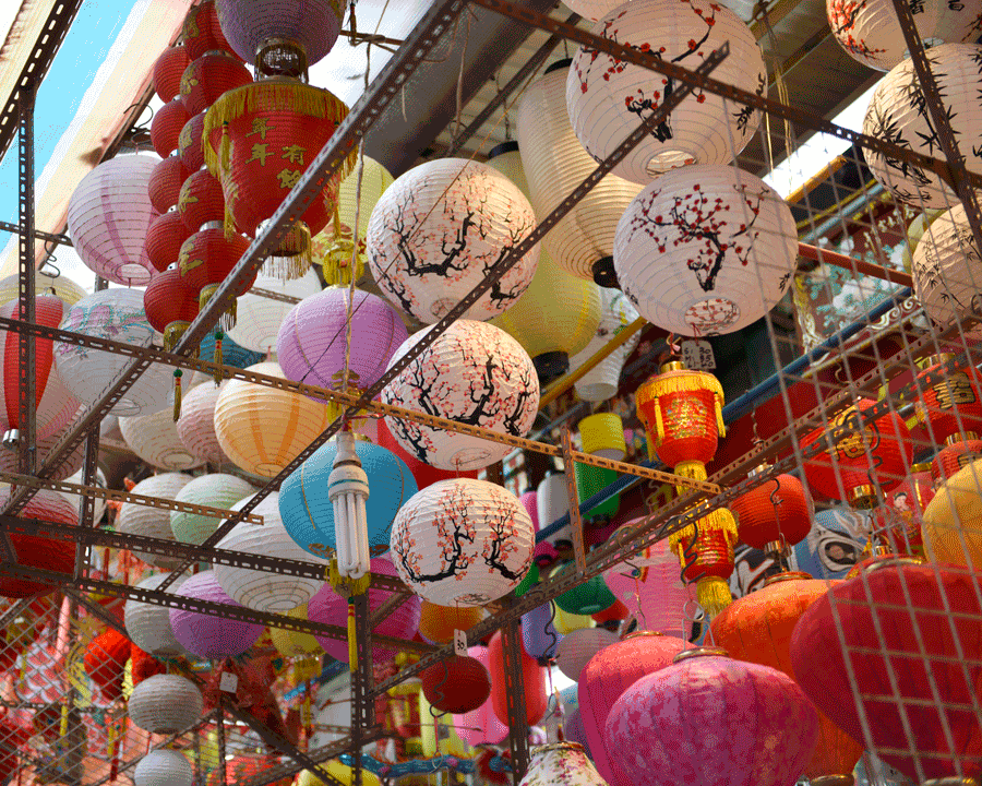 'Lanterns Galore' © Naida Ginnane 2018 Nikon D800 24-70mm lens, 1/80, f/2.8, ISO 125, +33. The assortment of lanterns in different colours and sizes is lively and festive.