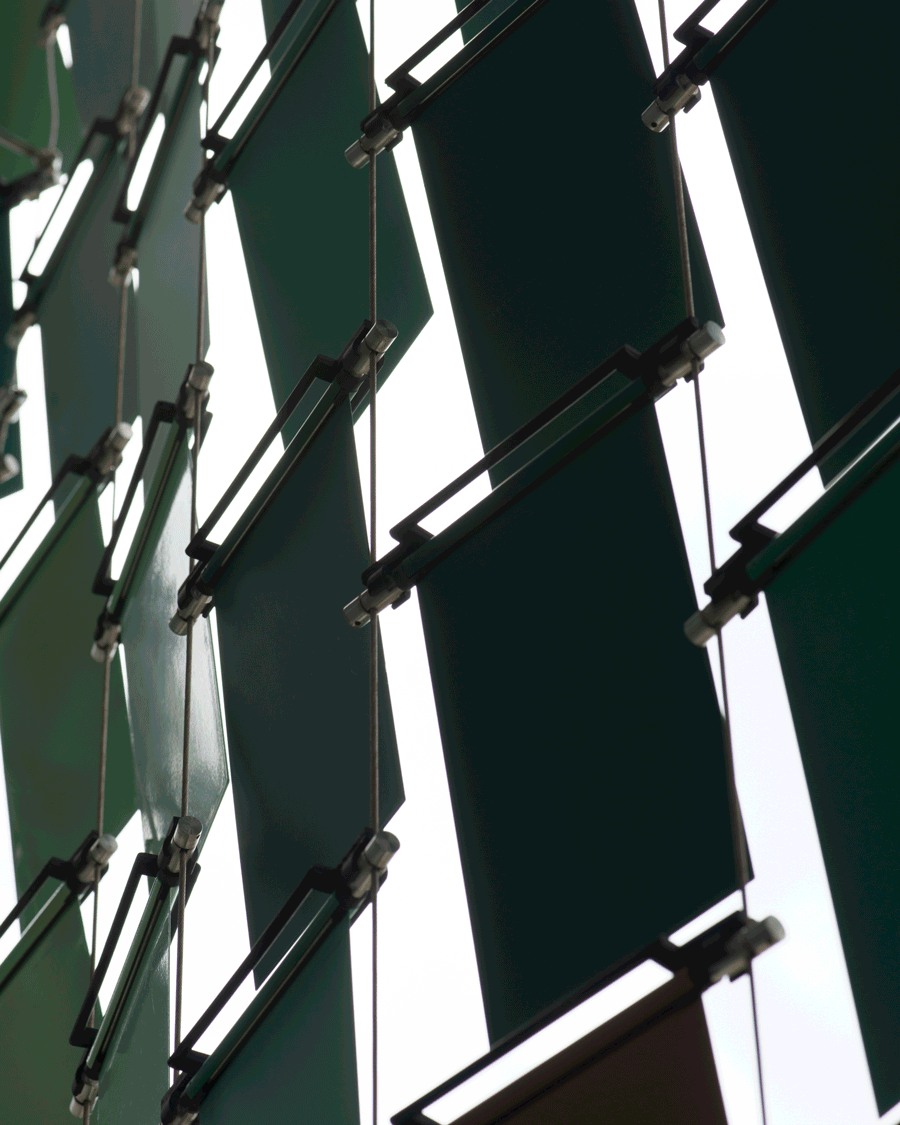 'Shutters' © Naida Ginnane 2018, Nikon D800 105mm lens,1/500, f/10, ISO 125, -67. I found these metallic shutters on the outside of a stairwell. their regular size, shape and placement creates a very consistent visual rhythm.