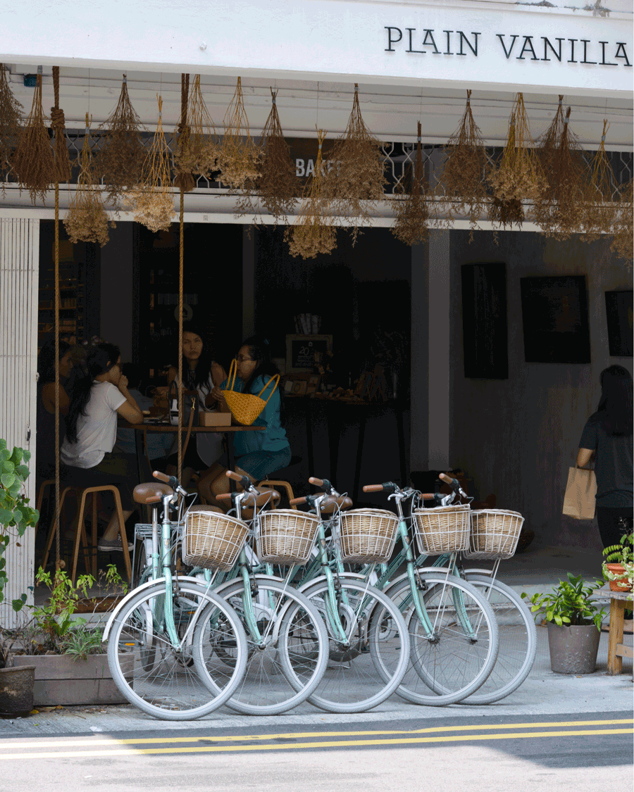 'Vanilla' © Naida Ginnane 2018 iPhone X 1/ 80, f/10, ISO 100.  Regular repeition of the dried flowers and the bicycles makes an inviting cafe scene.