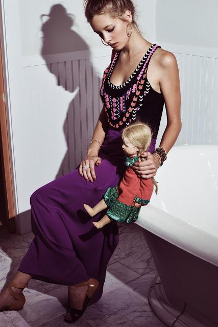 Mara Hoffman beaded top, Diane Von Furstenberg wrap maxi skirt, Pour la Victoure sandals