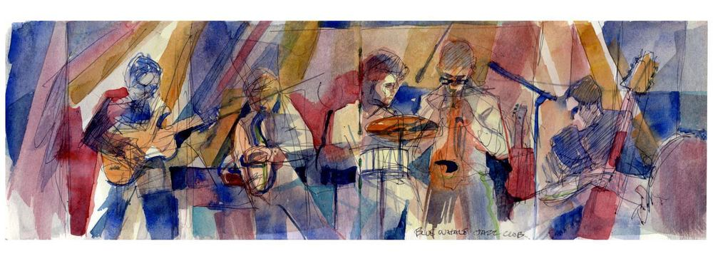The Daniel Rosenboom Quintet Painting by Pete Morris - painted during a live concert by the Daniel Rosenboom Quintet at Blue Whale in Los Angeles, CA on September 14, 2013.