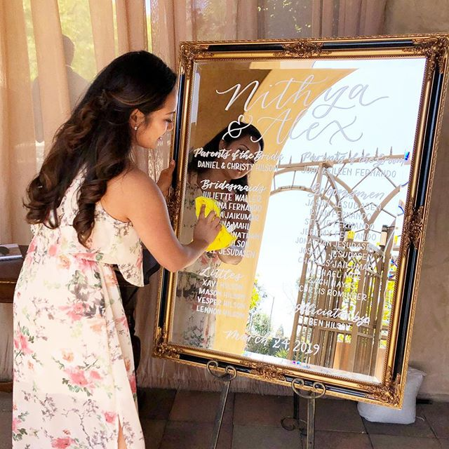 Making sure this mirror is free of smudges and fingerprints at set-up! . Seeing all the pieces finally in their place at the stunning venue, @serraplaza was a dream – I may have gotten a bit emotional inside 🙊 . Thank you @nithyadfernando, it was an honor being your wedding calligrapher and hope it was everything you envisioned! 💕