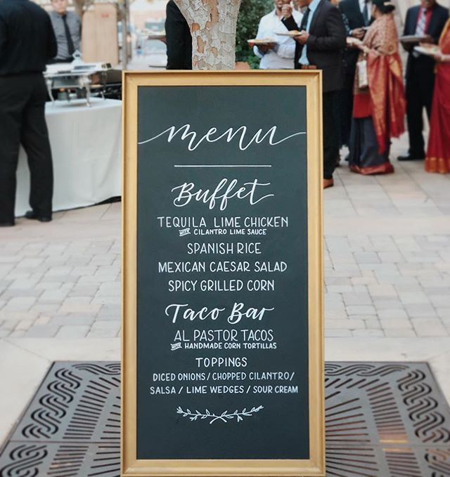 Besides dancing 💃🏽 who else looks forward eating the most at the reception?! 🙋🏽‍♀️ This menu by @jayscatering was quite possibly the best tasting wedding food I've ever had!👌🏼🌮 #letseat #modernmexican #socalwedding
