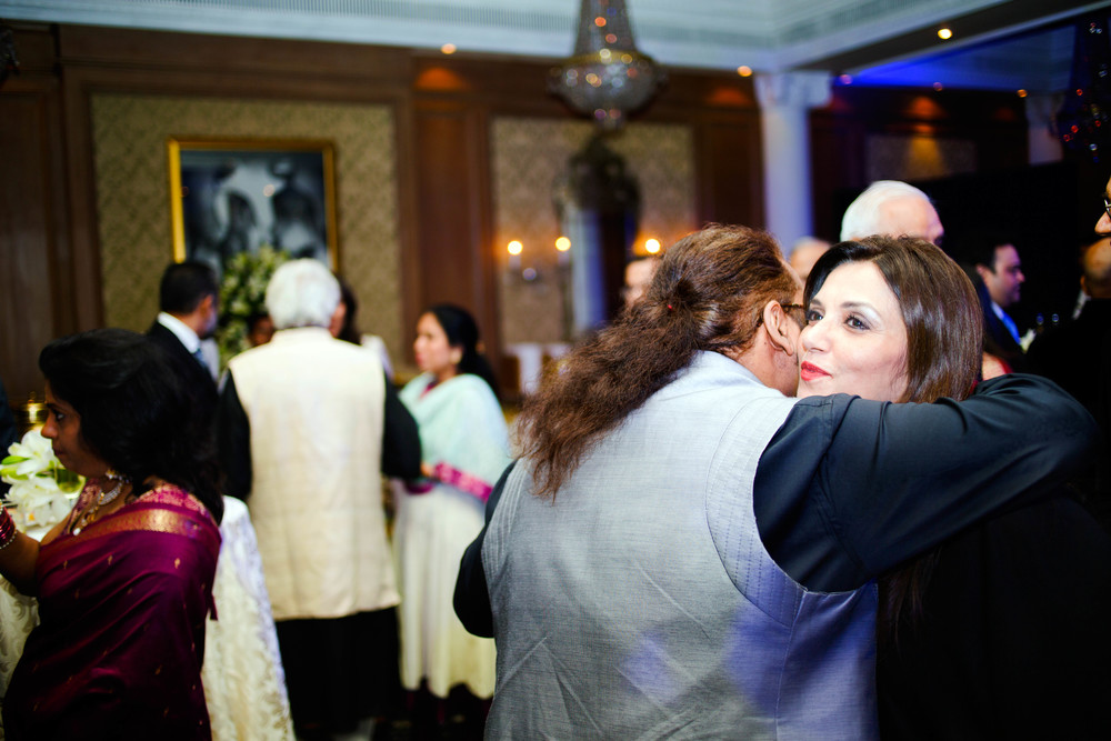 Hariharan getting a hug from Lillette Dubey