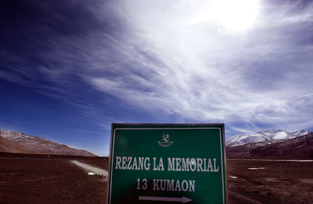 Sign post marking the war memorial