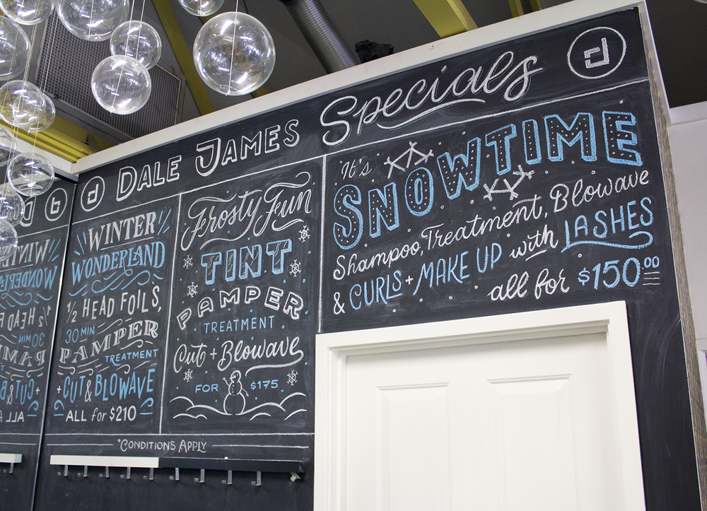 Winter Specials chalkboard for the folks at Dale James Hair Salon.