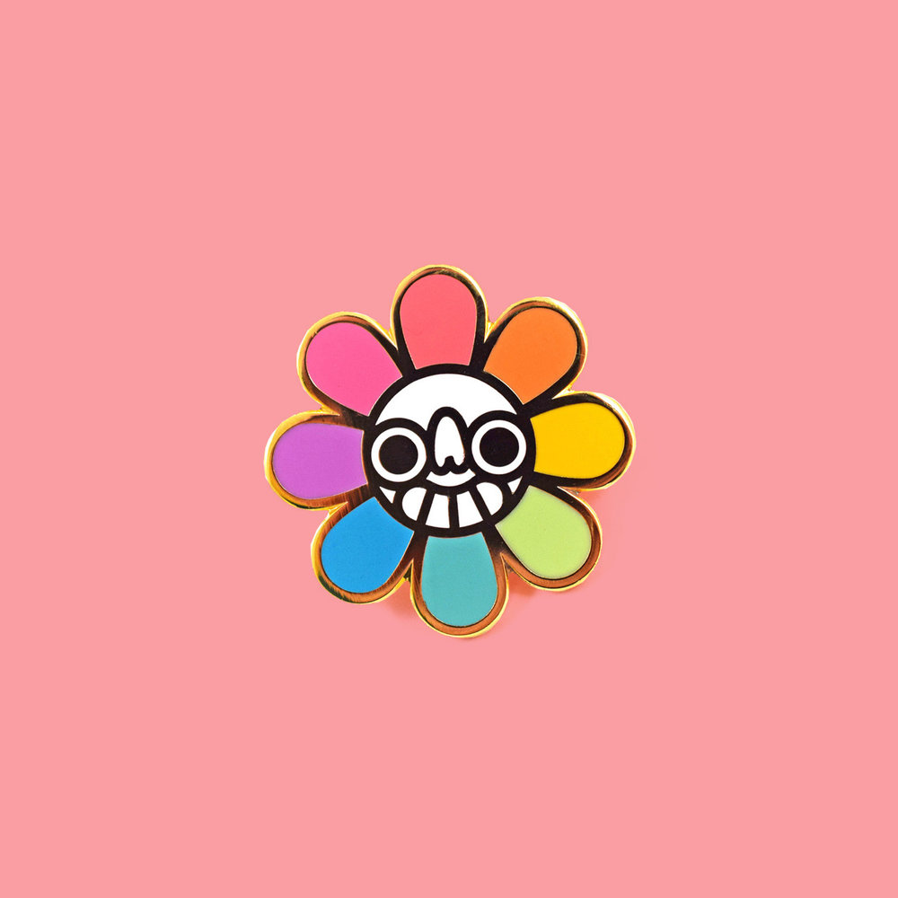 """Smiley Sunflower"" pin"