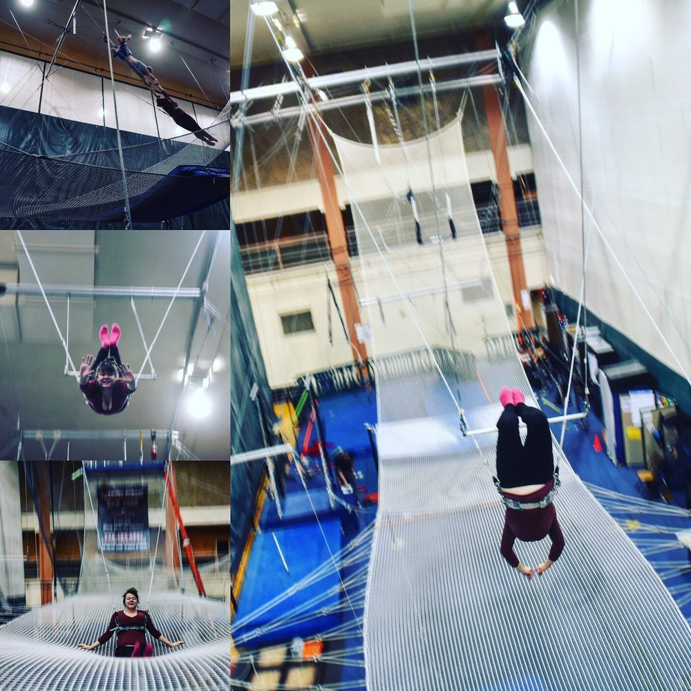 I bought myself a trapeze lesson for Christmas 2016. I wish I could have continued! Next, aerial scarves and voice over.