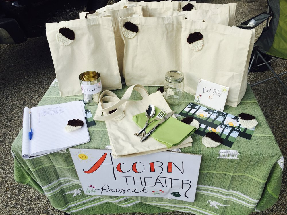"I performed with and wrote for Acorn Theatre Project's ""Nature Monologues"" the summer of 2016. Here, we're fundraising in Wisconsin with eco-friendly lunch bags. Acorn's mission is to produce eco-conscious theatre."