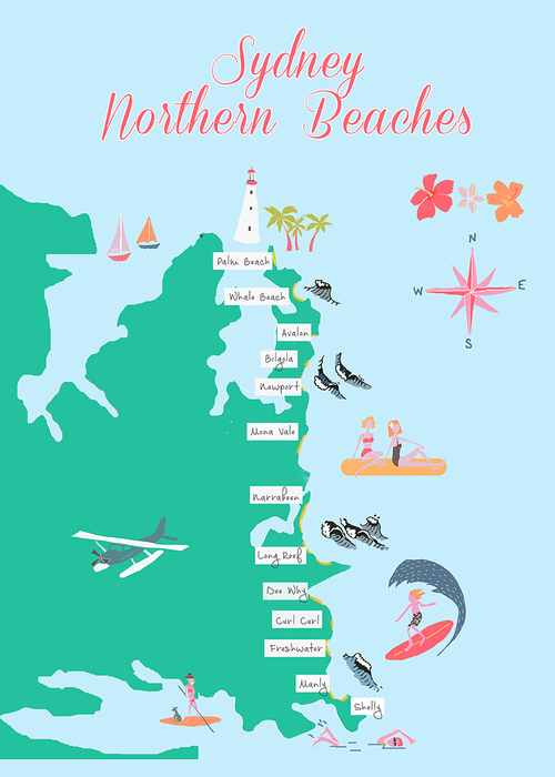 Sydney Beaches Map Northern Beaches Map — Suz Macphillamy Sydney Beaches Map