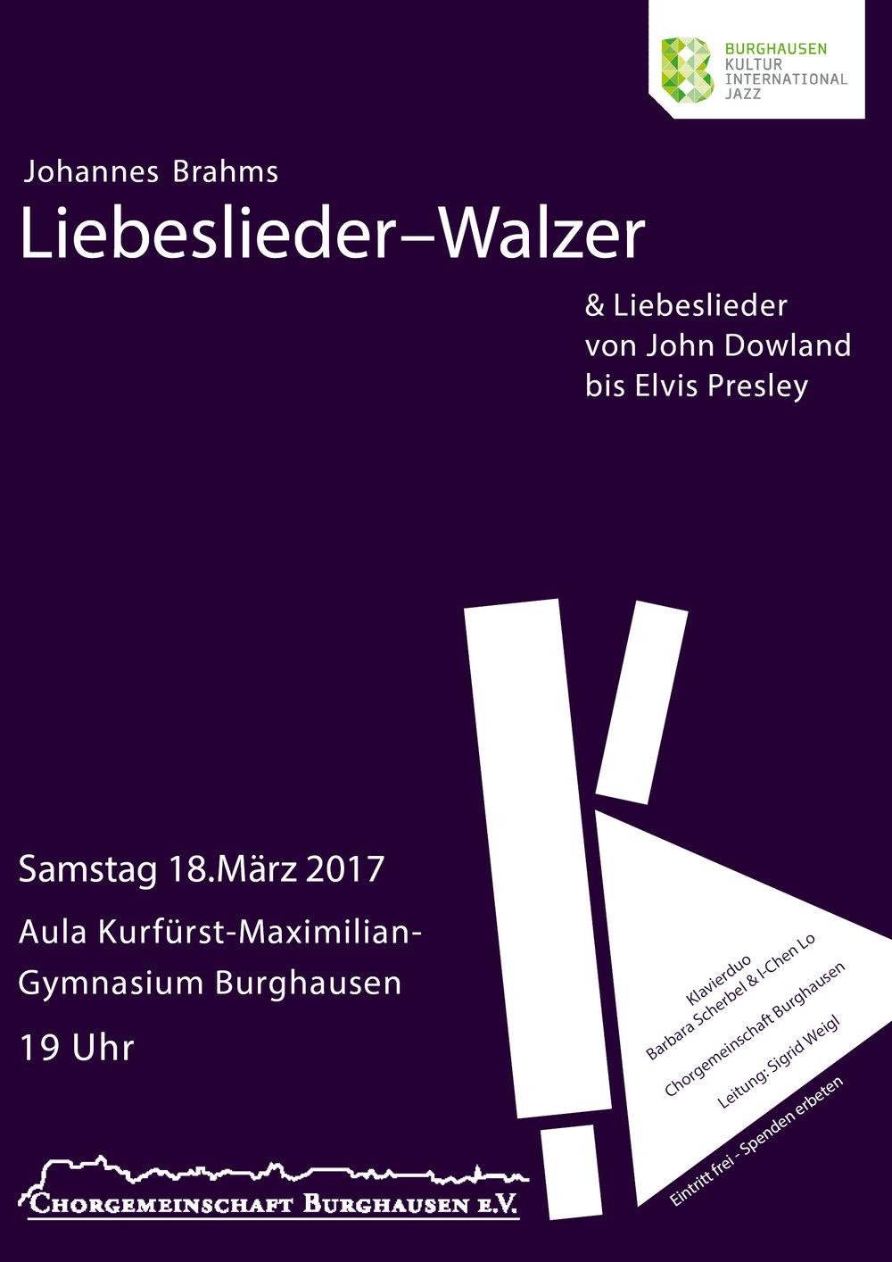 Konzertplakat der Chorgmeienschaft Burghausen e.V.