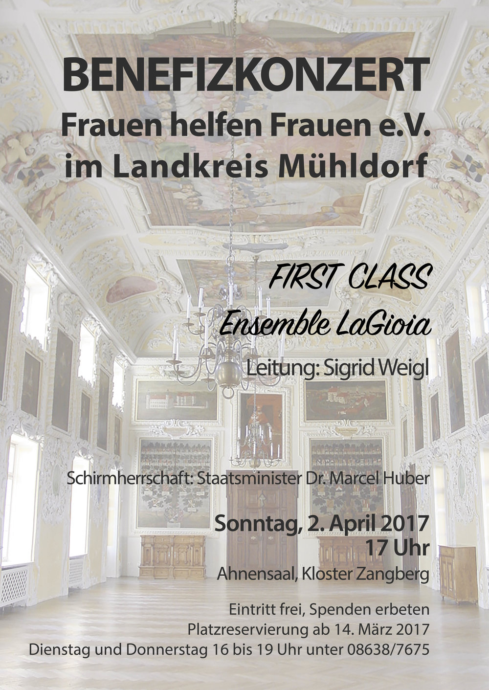 Konzertplakat für das Benefizkonzert von Frauen helfen Frauen im Landkreis Mühldorf e.V.