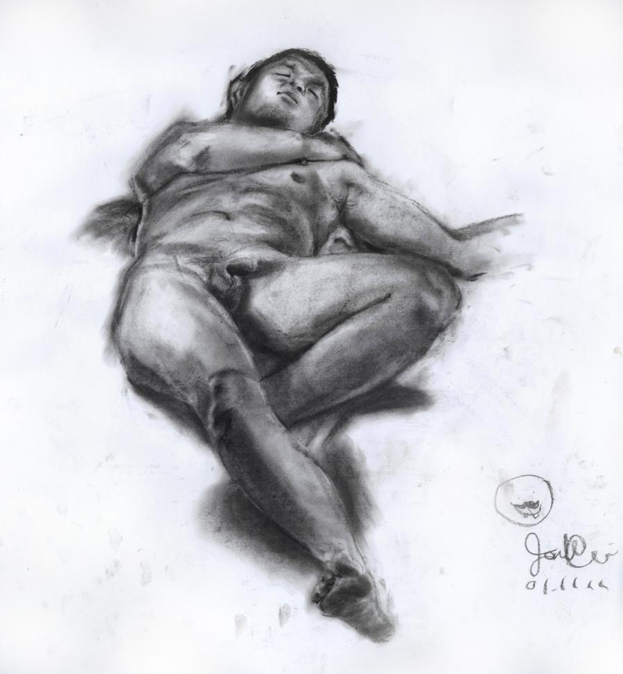 Nude Male Model Reclining, 2011